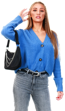 Brave Soul Blue Knitted Cardigan  - Click to view a larger image