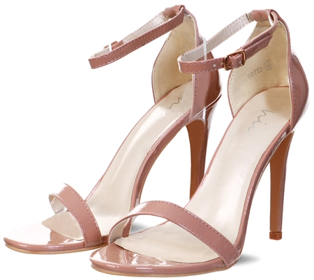 No Doubt Mocha Patent Ankle Strap Heeled Shoe  - Click to view a larger image