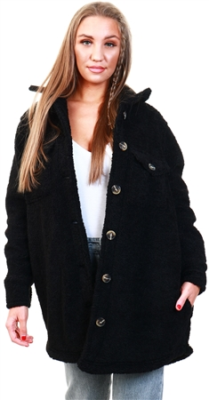 Brave Soul Black Teddy Bear Shacket  - Click to view a larger image