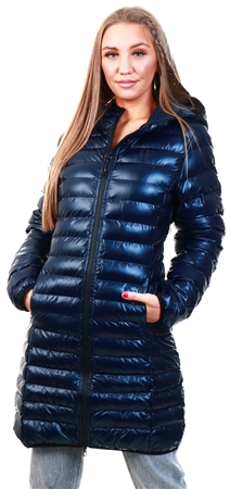 11degrees Navy Eclipse Long Line Padded Jacket  - Click to view a larger image
