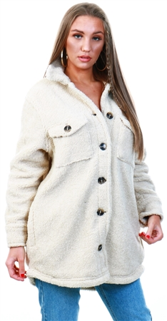 Brave Soul Cream Teddy Bear Shacket  - Click to view a larger image