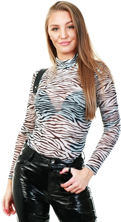 Only Black / White Printed Long Sleeved Top  - Click to view a larger image