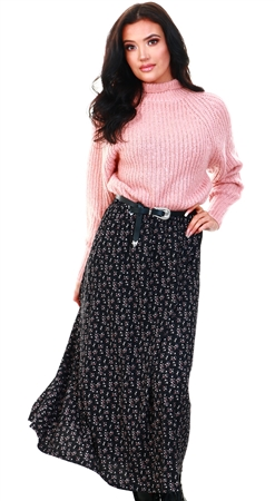 Only Black / Black Solid Colored Maxi Skirt  - Click to view a larger image