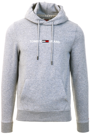 Tommy Jeans Lt Grey Heather Fleece Logo Hoody  - Click to view a larger image