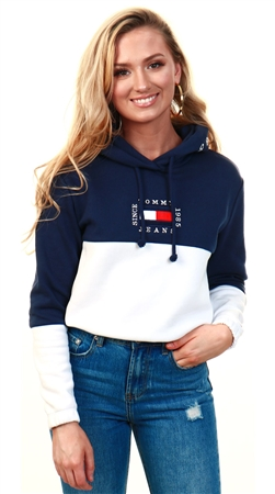 Tommy Jeans White/Navy Colour Block Hoody  - Click to view a larger image