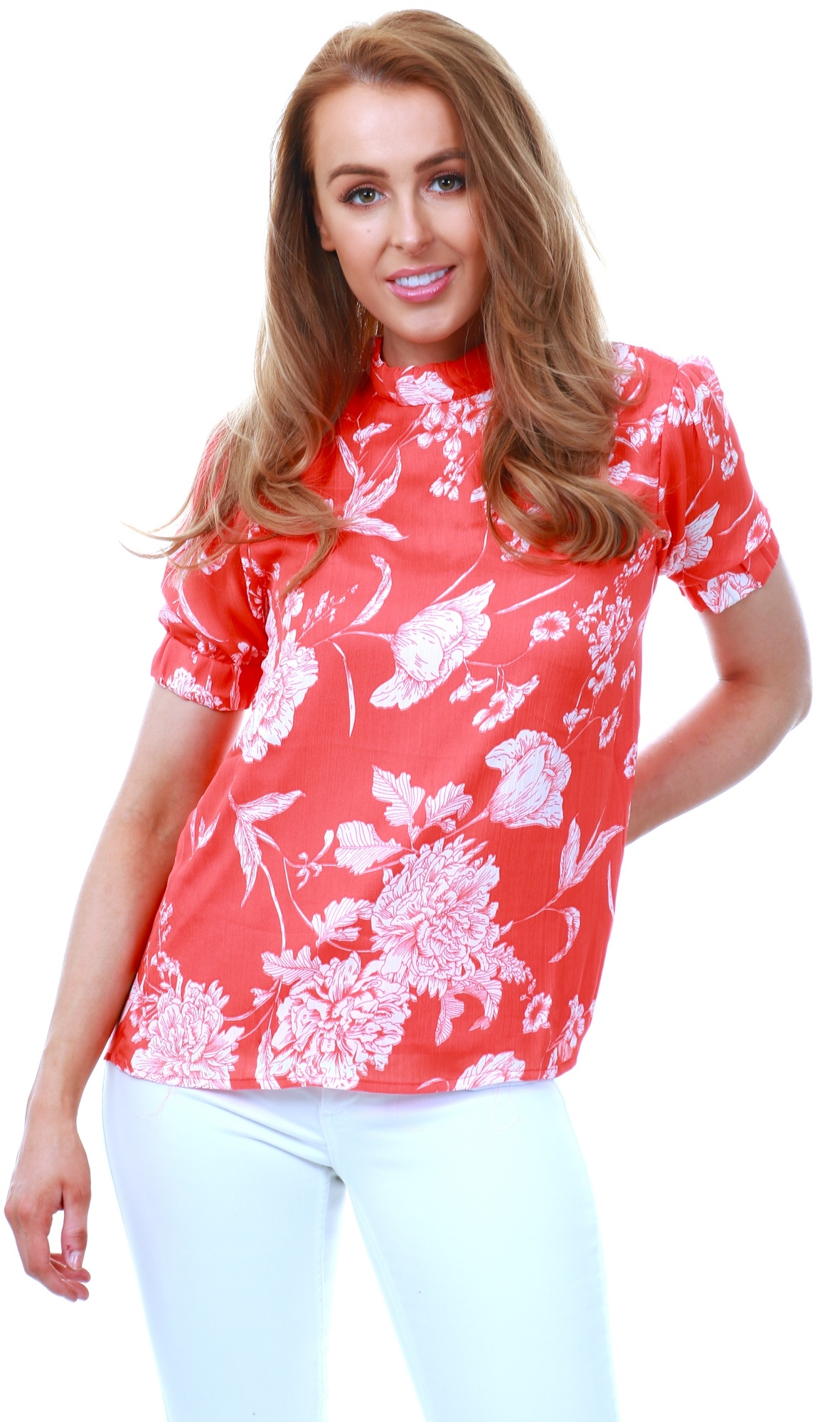 Fashion Union Coral / Red Floral Top 1