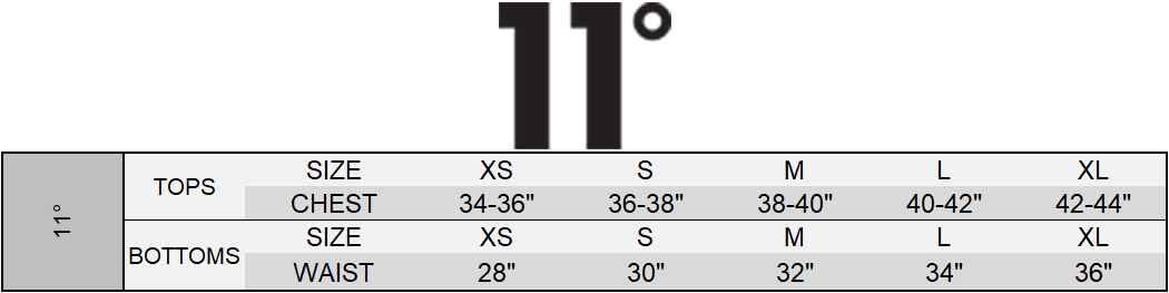 11Degrees Size Chart
