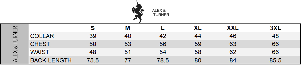 Alex & Turner Size Chart