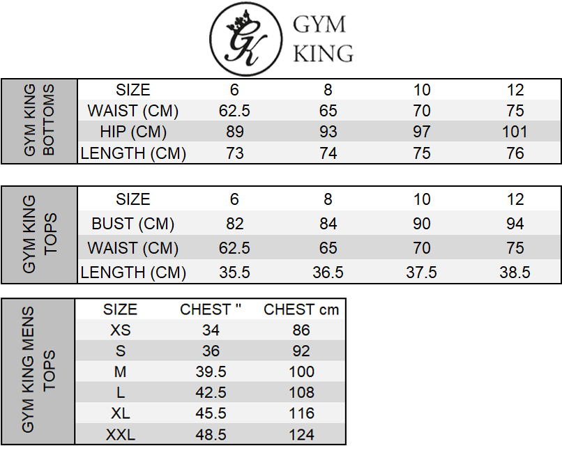 Gym King Size Chart
