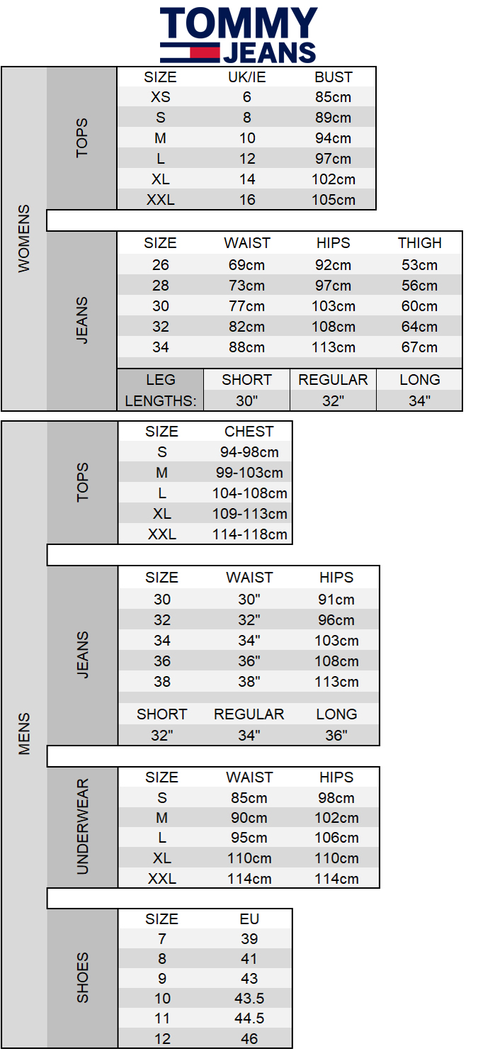 Tommy Jeans Size Chart