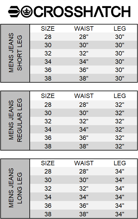 Crosshatch Size Chart